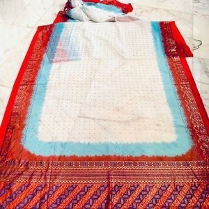 Red White Blue Gold Foil Bollywood Sheer Sari